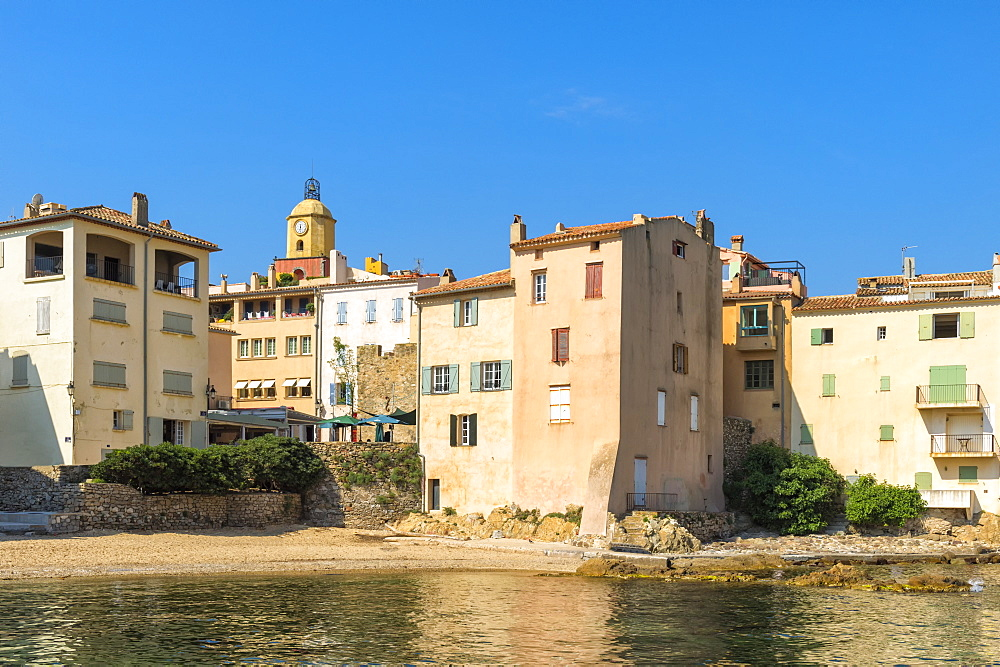 Urban beach of La Ponche, St. Tropez, Var, Provence Alpes Cote d'Azur region, French Riviera, France, Mediterranean, Europe