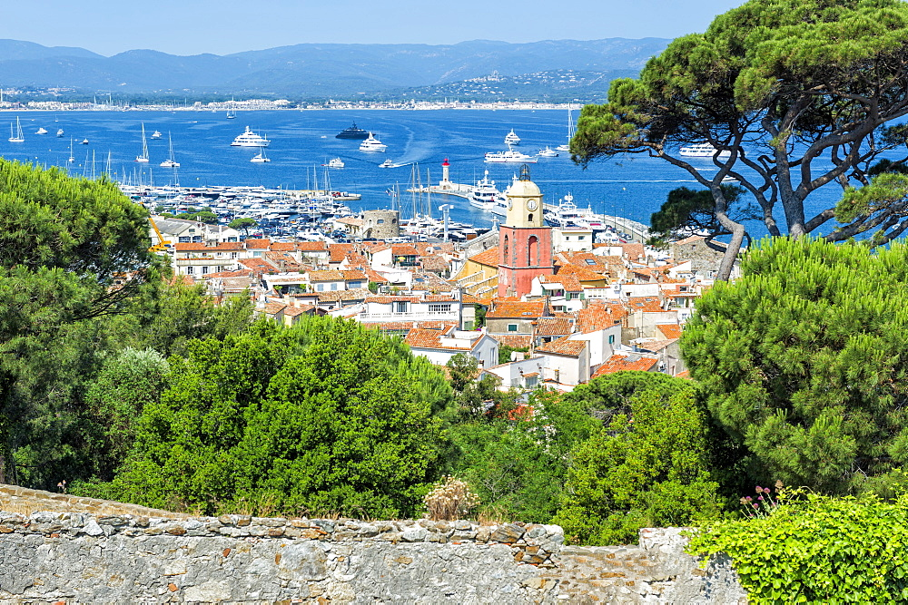 View over the bell tower of Notre Dame de l'Assomption Church, St. Tropez, Var, Provence Alpes Cote d'Azur region, French Riviera, France, Mediterranean, Europe