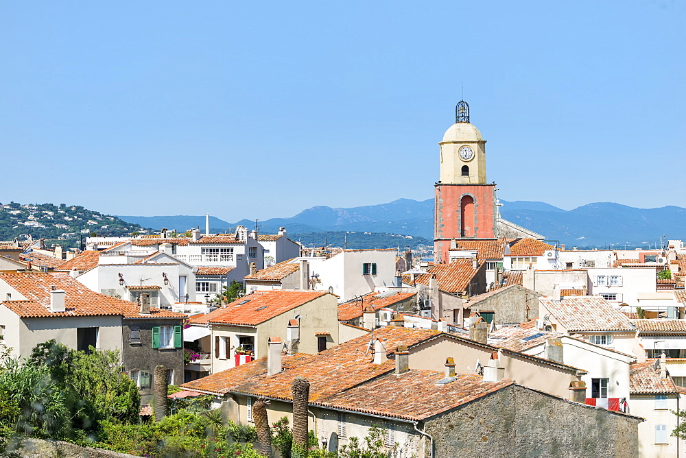 View over St. Tropez, Var, Provence Alpes Cote d'Azur region, French Riviera, France, Mediterranean, Europe