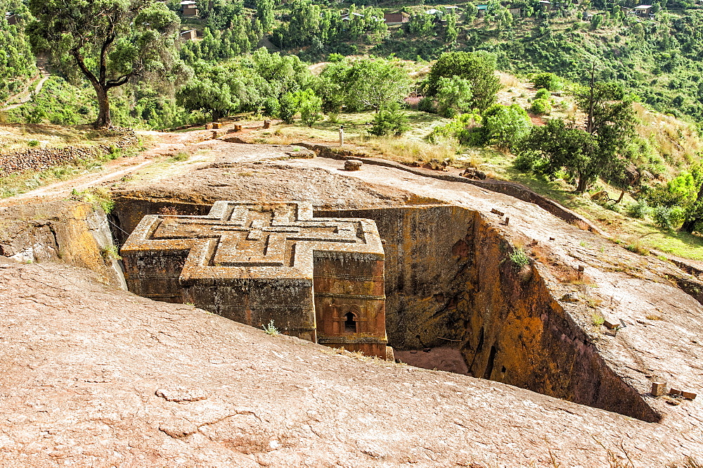 Monolithic rock-cut Church of Bete Giyorgis (St. George), UNESCO World Heritage Site, Lalibela, Amhara region, Northern Ethiopia, Africa