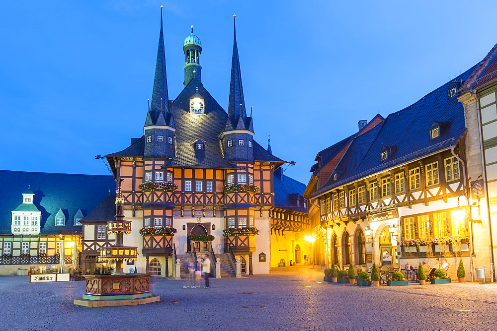 Market square and Town Hall at twilight, Wernigerode, Harz, Saxony-Anhalt, Germany, Europe
