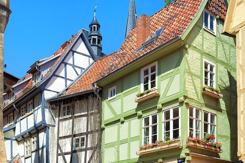 Half-timbered houses, Quedlinburg, UNESCO World Heritage Site, Harz, Saxony-Anhalt, Germany, Europe