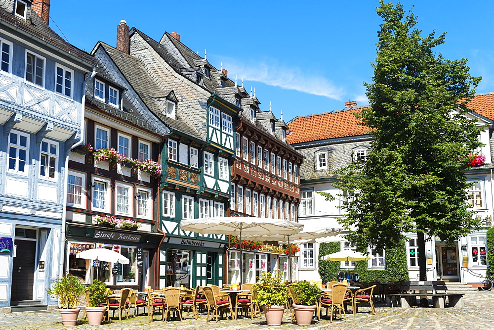 Half-timbered houses, Goslar, UNESCO World Heritage Site, Harz, Lower Saxony, Germany, Europe