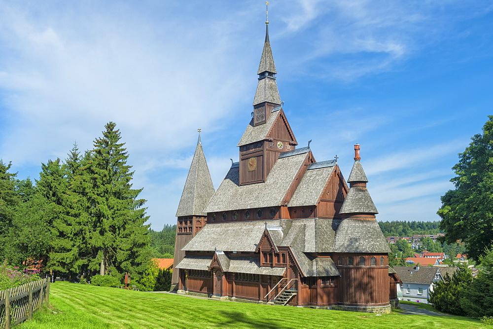 Protestant Gustav Adolf Stave Church, Hahnenklee, Harz, Lower Saxony, Germany, Europe