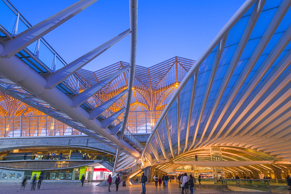 Oriente train station at the blue hour, Parque das Nacoes, Lisbon, Portugal, Europe