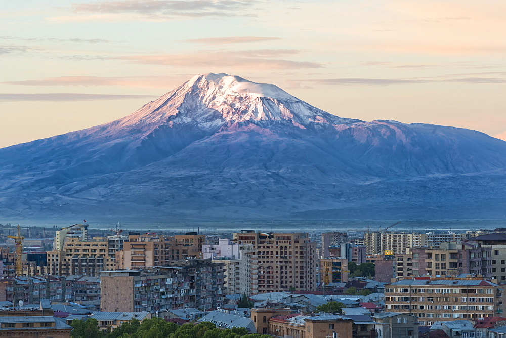 Mount Ararat and Yerevan viewed from Cascade at sunrise, Yerevan, Armenia, Cemtral Asia, Asia