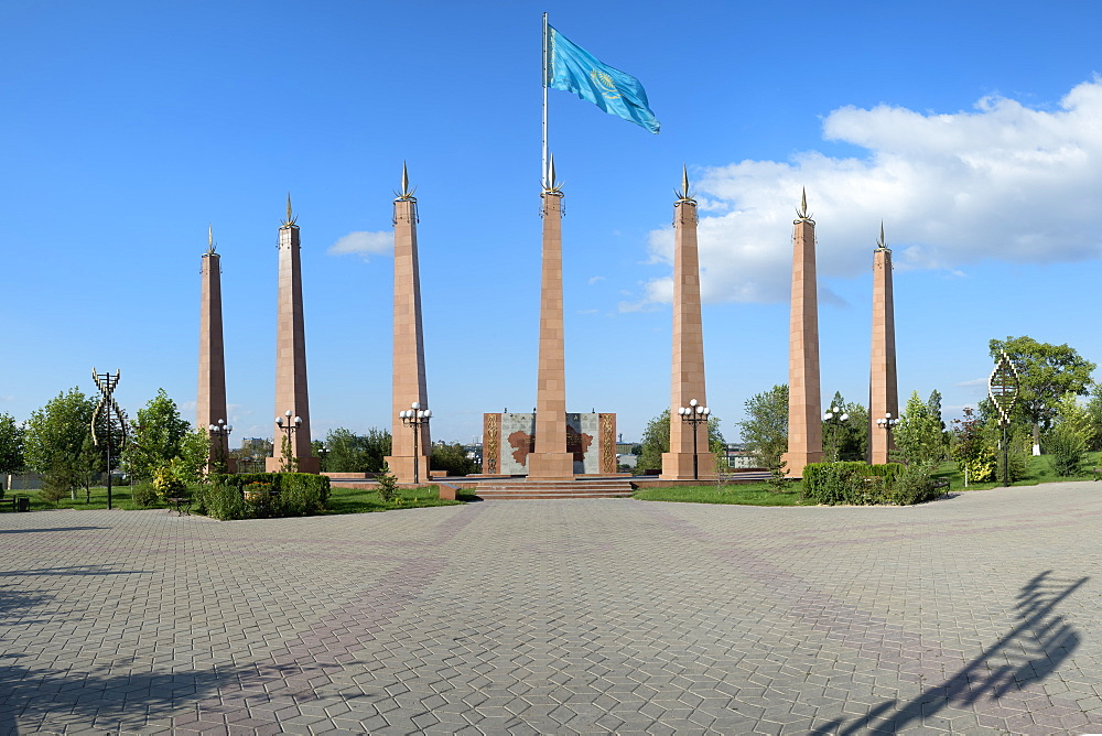 Granite obelisk, Independence Park, Shymkent, South Region, Kazakhstan, Central Asia, Asia