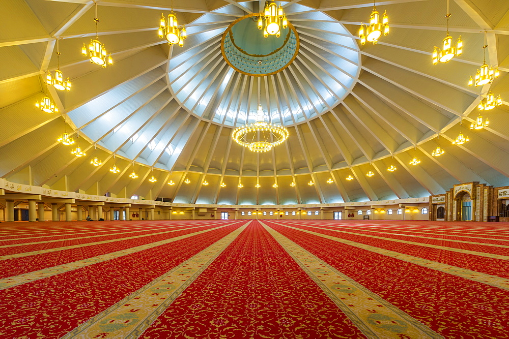 Sheikh Khalifa al Nahyan Mosque, Men's prayer room, Shymkent, South Region, Kazakhstan, Central Asia