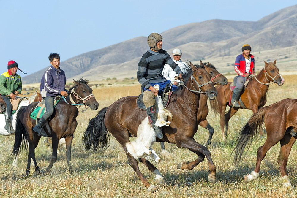 Traditional Kokpar (buzkashi) in the outskirts of Gabagly National Park, Shymkent, South Region, Kazakhstan, Central Asia