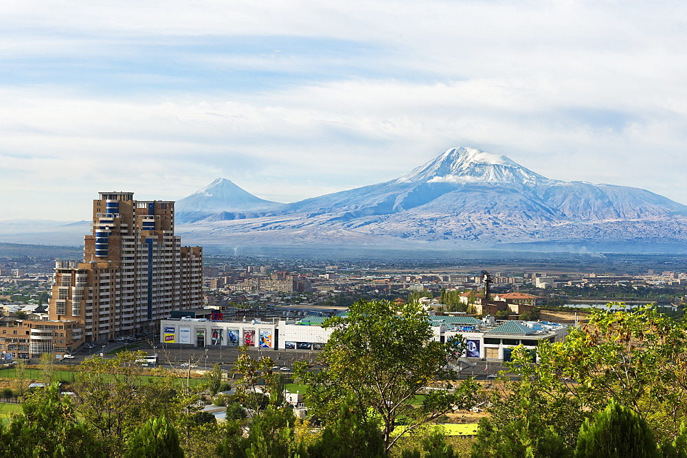 View over Yerevan and Mount Ararat, Yerevan, Armenia, Caucasus, Asia