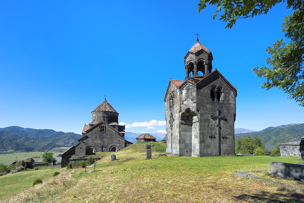 Cathedral and bell towr of the 11th century Haghpat Monastery, UNESCO World Heritage Site, Surb Nishan, Haghpat, Lori Province, Armenia, Caucasus, Asia