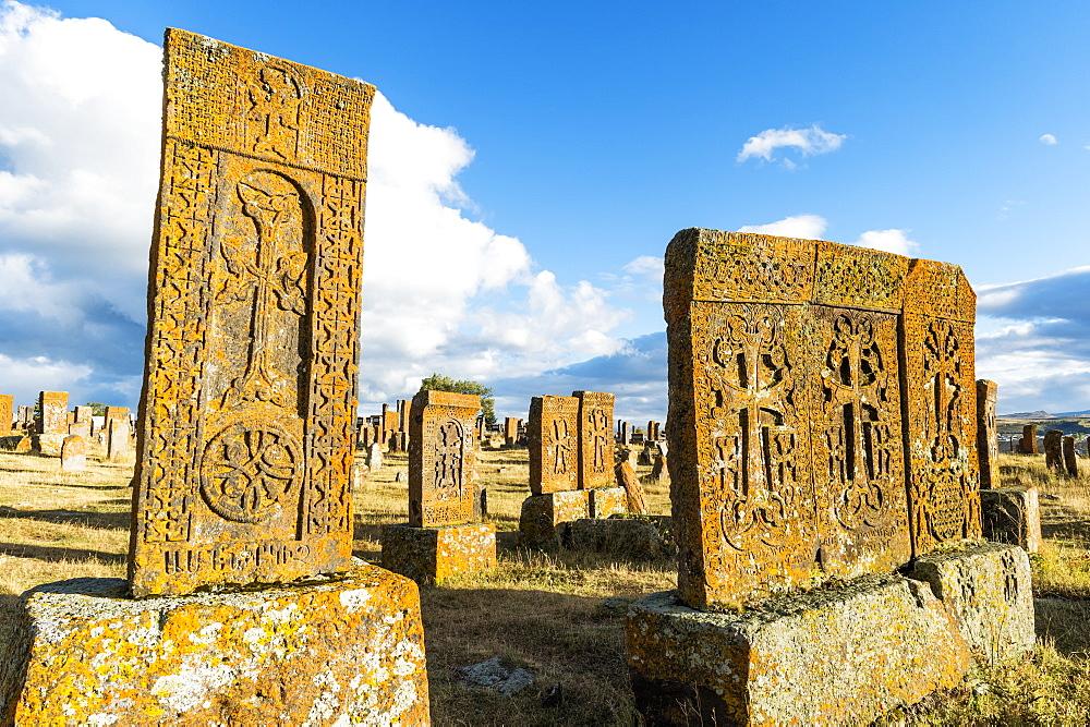 Medieval Khachkars carved memorial stele, Noratus cemetery, Sevan Lake, Gegharkunik province, Armenia, Caucasus, Asia