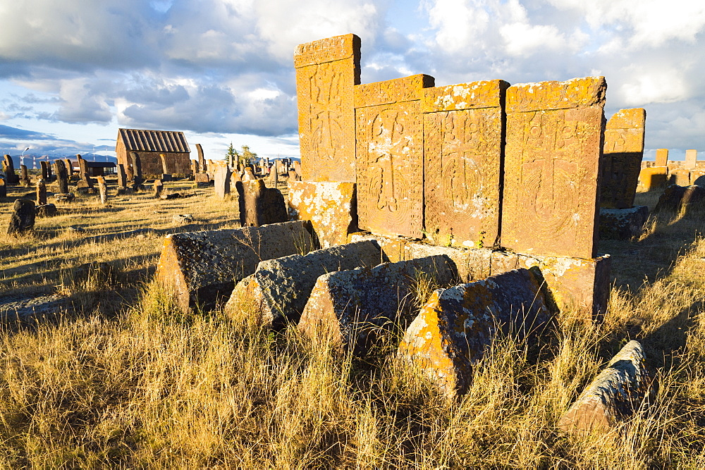 Medieval Khachkars carved memorial stele, Noratus cemetery, Sevan Lake, Gegharkunik province, Armenia, Caucasus, Middle East, As