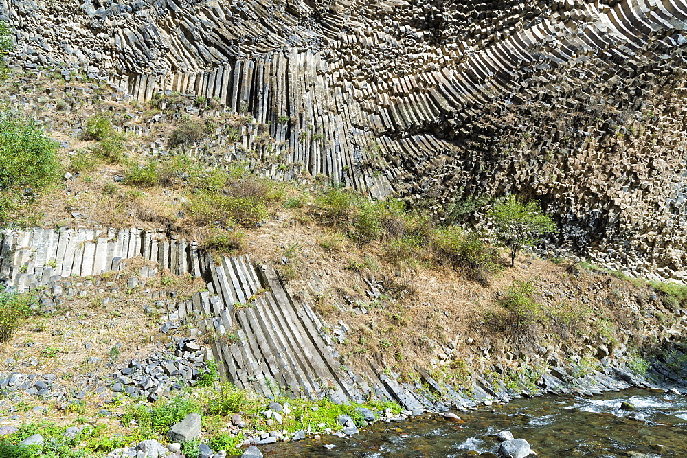 Symphony of Stones, Basalt columns formation along Garni gorge, Kotayk Province, Armenia, Caucasus, Middle East, Asia