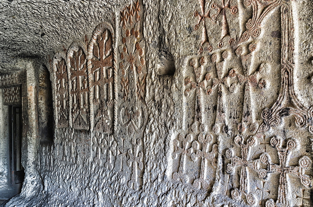 Bas-relief in interior of 4th century Geghard Monastery, UNESCO World Heritage Site, Kotayk Province, Yerevan, Armenia, Caucasus, Asia