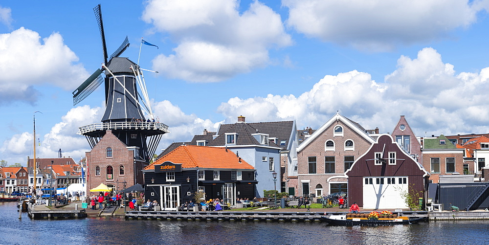 De Adriaan windmill along the river Spaarne, Haarlem, North Holland, The Netherlands, Europe