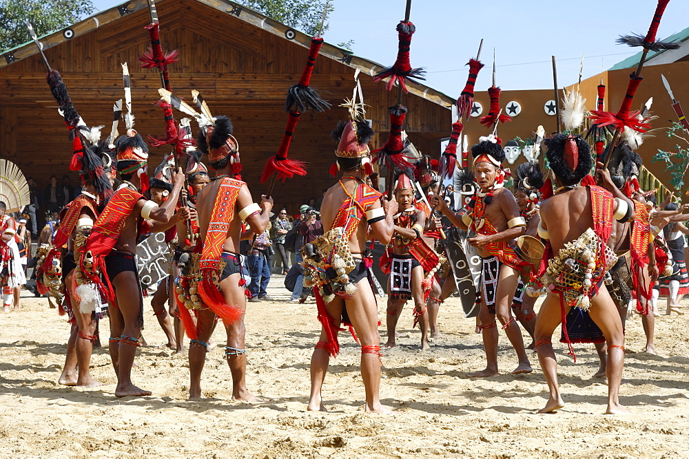 Tribal ritual dances at the Hornbill Festival, Kohima, Nagaland, India, Asia