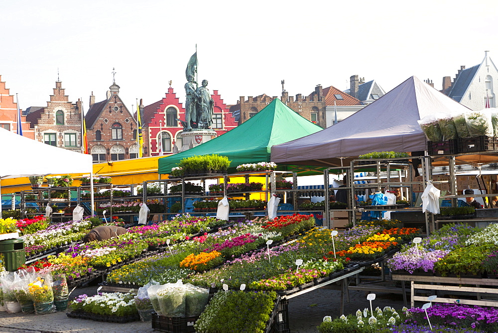Flower Market in the historic Market Square, Bruges, Belgium, Europe