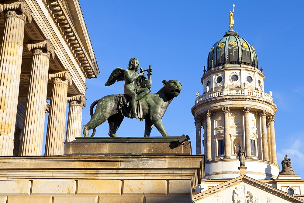 Sculpture of Tieck with the Theatre and Franzosisch (French) Church in the background, Gendarmenmarkt, Berlin, Germany, Europe