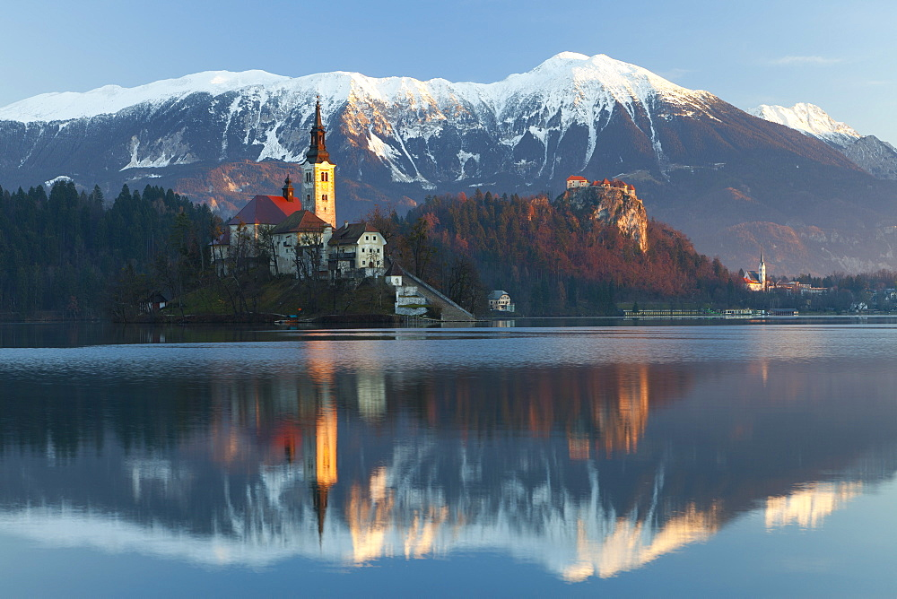 The Assumption of Mary Pilgrimage Church on Lake Bled and Bled Castle, Bled, Slovenia, Europe
