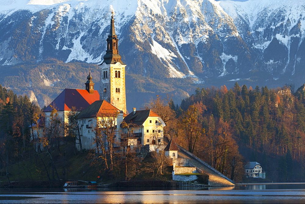 The Assumption of Mary Pilgrimage Church on Lake Bled, Bled, Slovenia, Europe