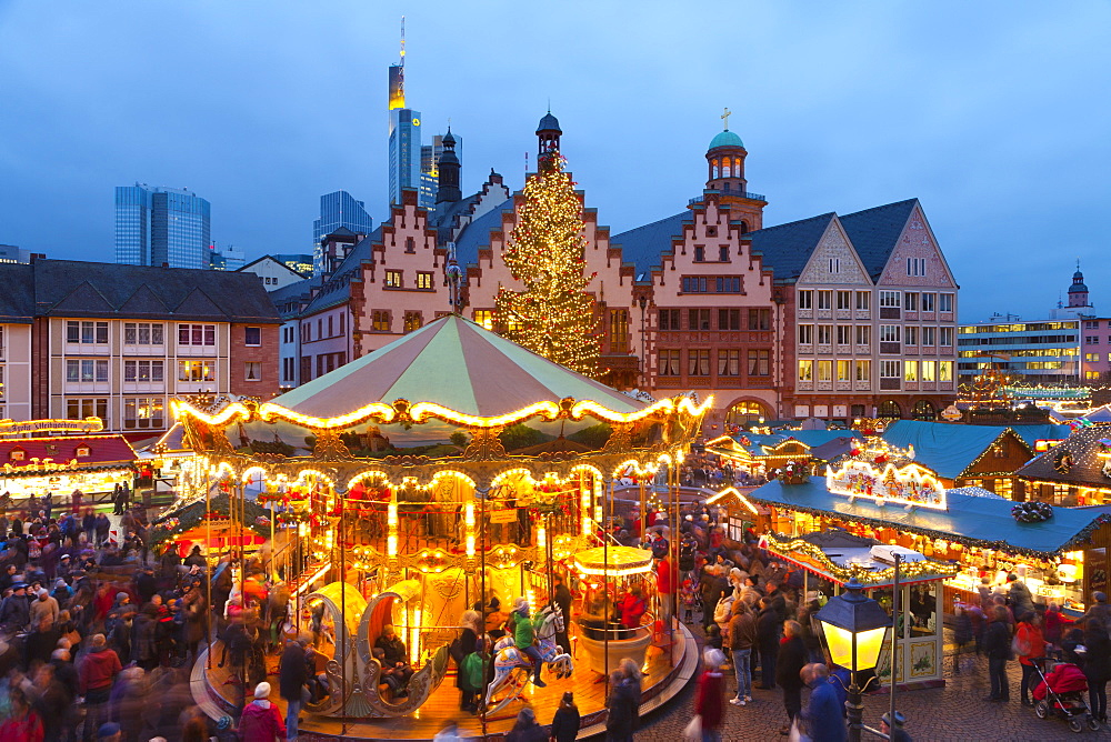 Christmas Market in Romerberg, Frankfurt, Germany, Europe