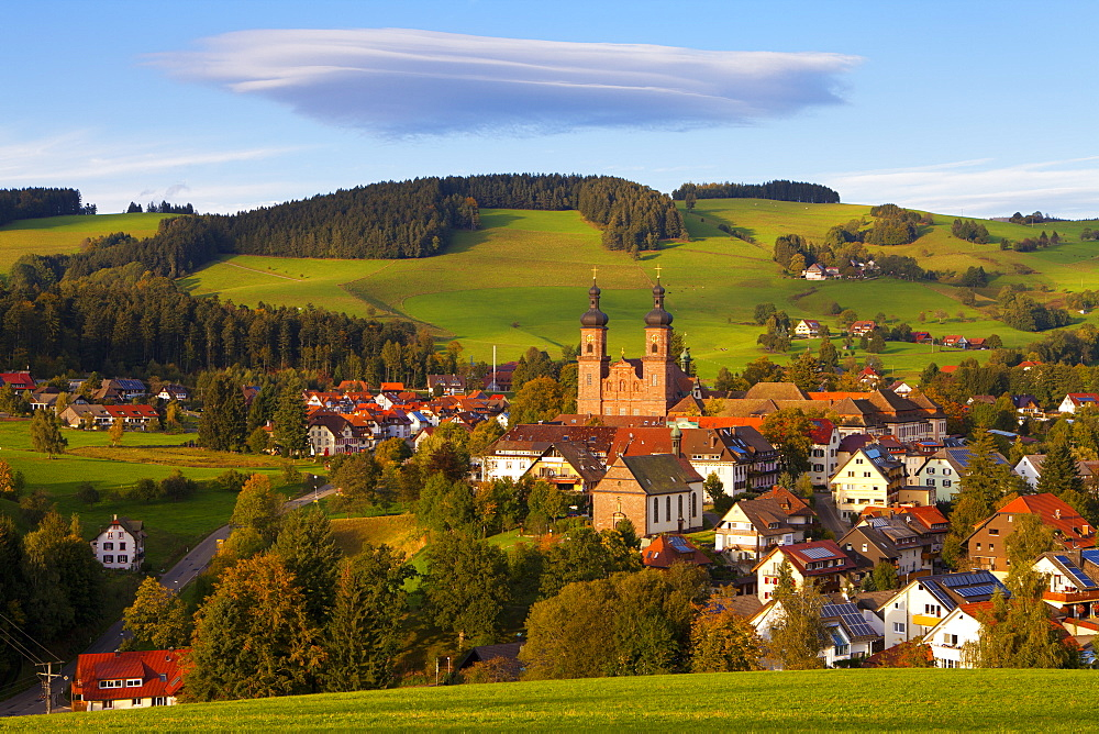 Overview of Saint Peter (Sankt Peter) at sunset, Black Forest, Baden-Wurttemberg, Germany, Europe