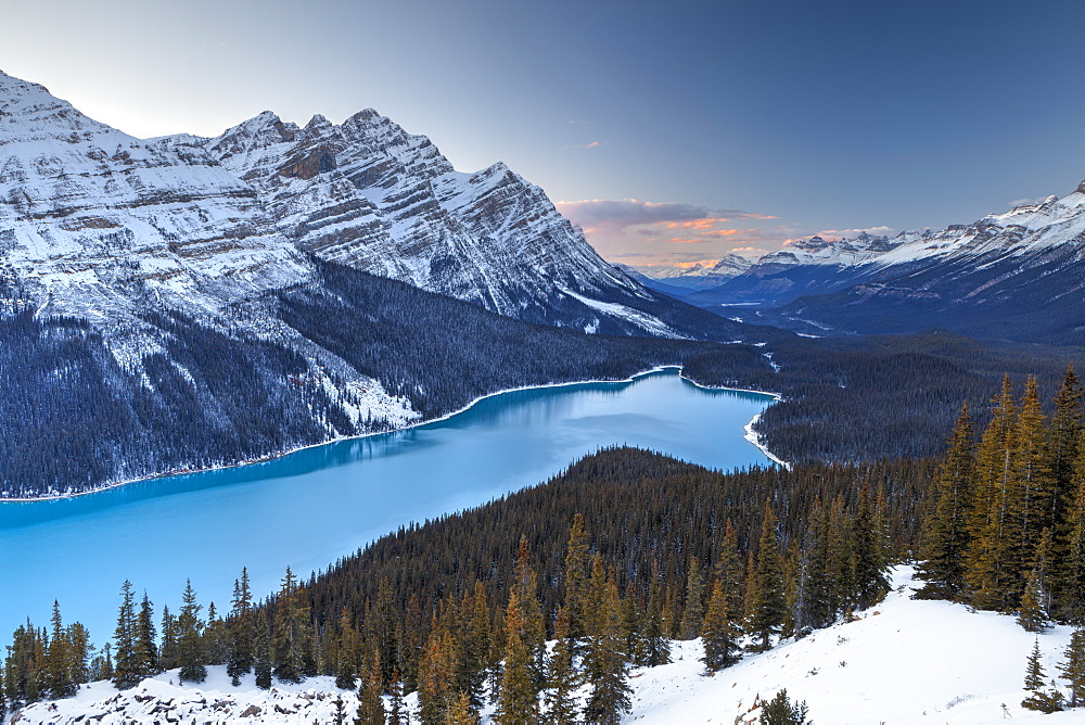 Peyto Lake at Sunset, Banff National Park, UNESCO World Heritage Site, Rocky Mountains, Alberta, Canada, North America