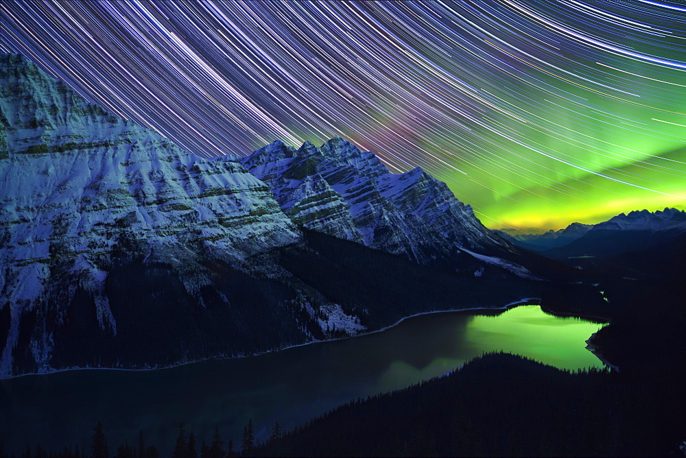 Star Trails and Northern Lights over Peyto Lake, Banff National Park, UNESCO World Heritage Site, Rocky Mountains, Alberta, Canada, North America