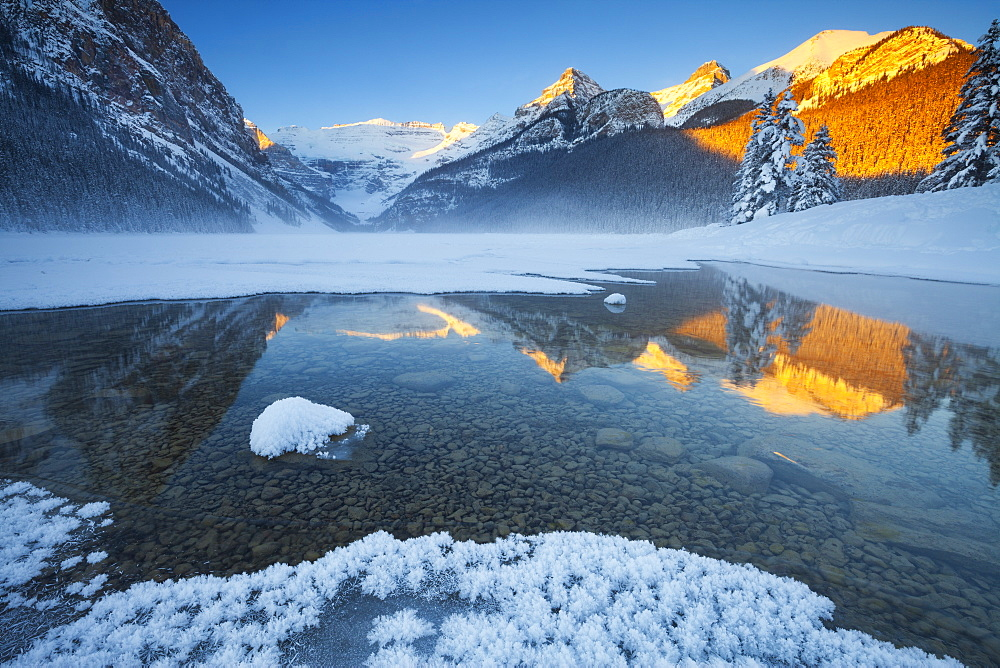 Lake Louise at Sunrise in Winter, Banff National Park, Alberta, Canada, North America