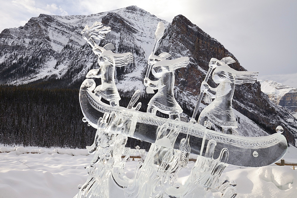 Ice Sculpture at the 2015 Lake Louise Ice Magic Festival, Lake Louise, Banff National Park, Alberta, Canada, North America