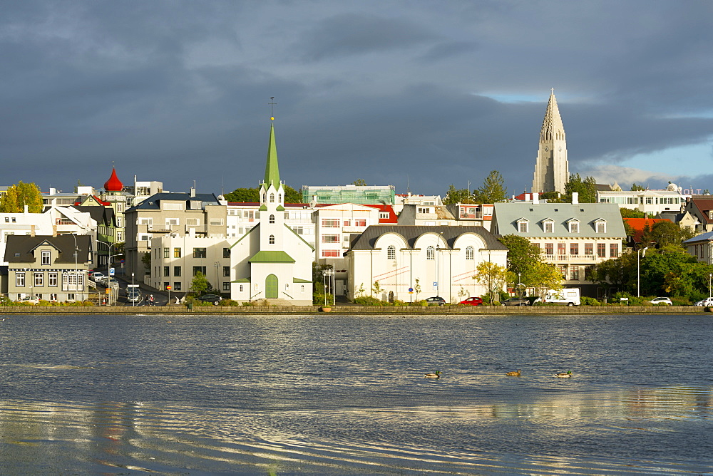 View of the Historic Centre and Lake Tjornin, Reykjavik, Iceland, Polar Regions - 1132-301