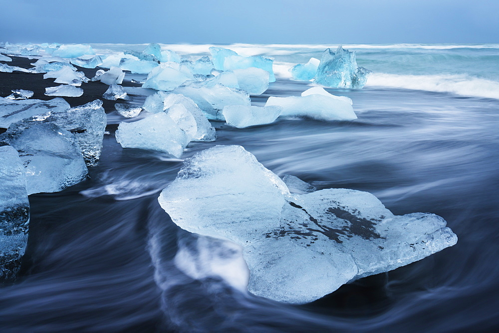 Icebergs on the beach at Jokulsarlon, Iceland, Polar Regions