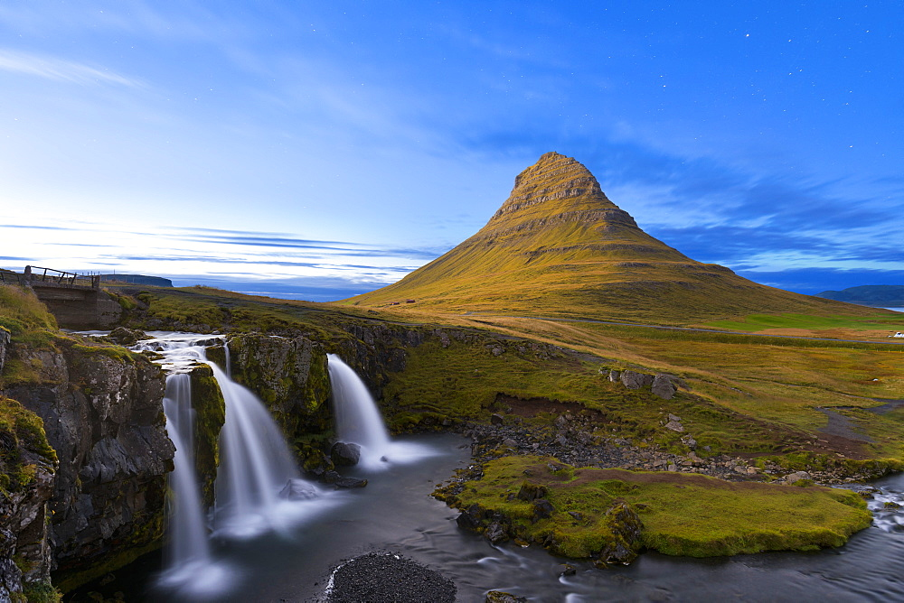 Kirkjufell Mountain and Kirkjufoss Waterfall at dusk, Snaefellsnes Peninsula, Iceland, Polar Regions