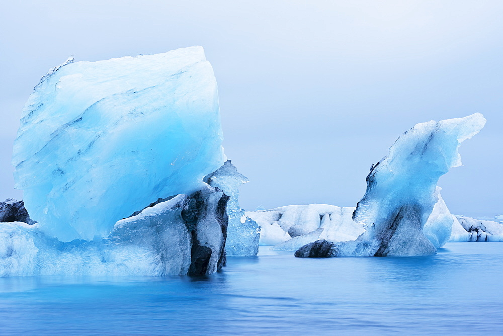 Icebergs floating on Jokulsarlon Glacial Lagoon, Iceland, Polar Regions