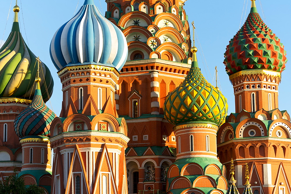 Close-up of the Domes of Saint Basil's Cathedral, Moscow, Russian Federation