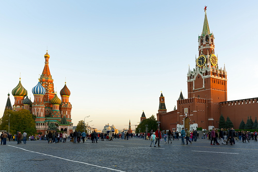 Red Square, Saint Basil's Cathedral and the Savior's Tower of the Kremlin, Moscow, Russian Federation