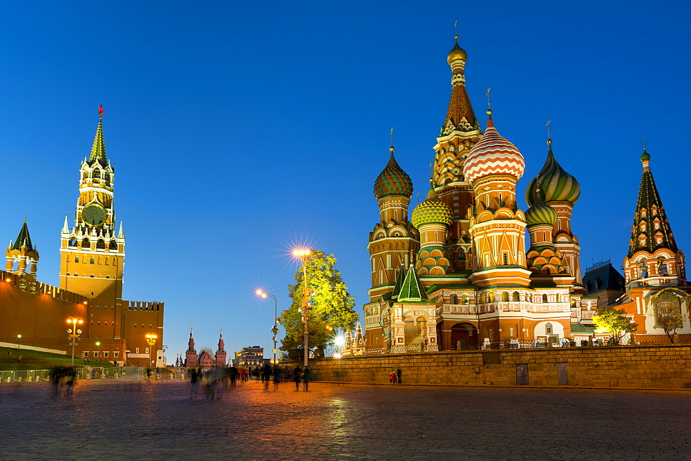 Red Square, Saint Basil's Cathedral and the Savior's Tower of the Kremlin lit up at night, Moscow, Russian Federation