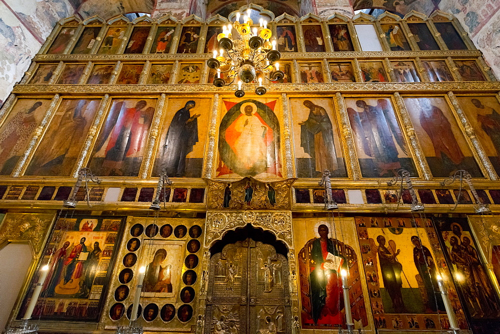 Iconostasis inside the Assumption Cathedral, the Kremlin, Moscow, Russian Federation
