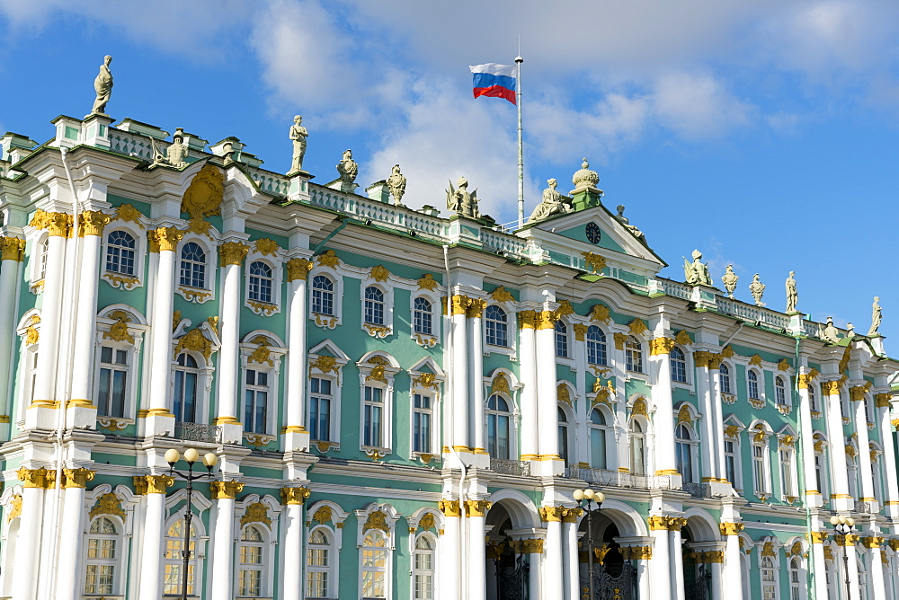 Facade of the Winter Palace, the State Hermitage Museum, UNESCO World Heritage Site, St. Petersburg, Russia, Europe