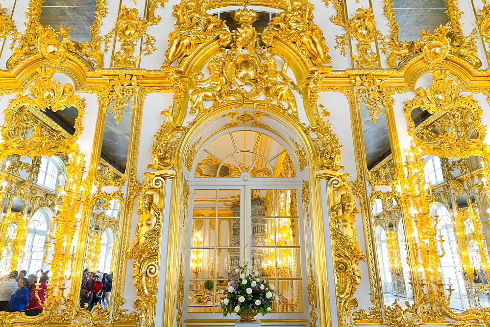 Doorway in the Ballroom, Catherine Palace, UNESCO World Heritage Site, Pushkin, near St. Petersburg, Russia, Europe