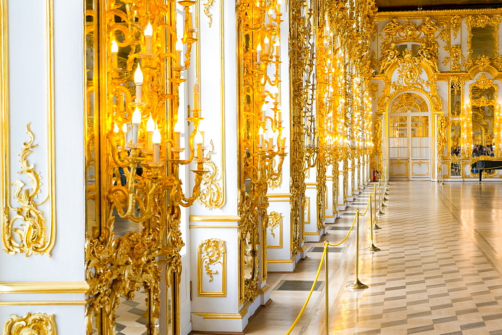 The Ballroom, Catherine Palace, UNESCO World Heritage Site, Pushkin, near St. Petersburg, Russia, Europe