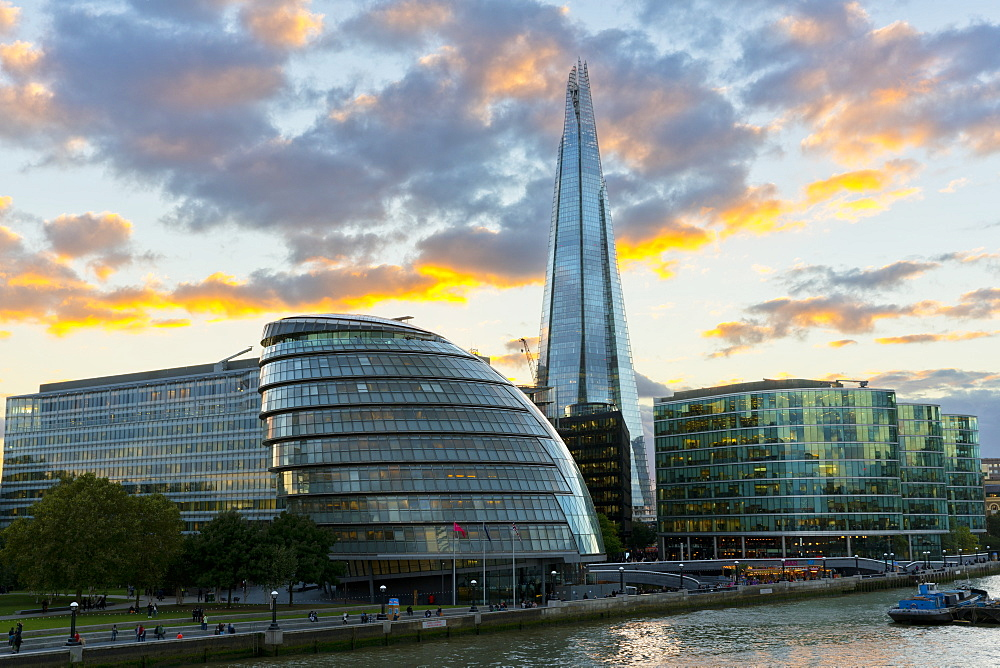View of the Shard and City Hall at Sunset, London, United Kingdom