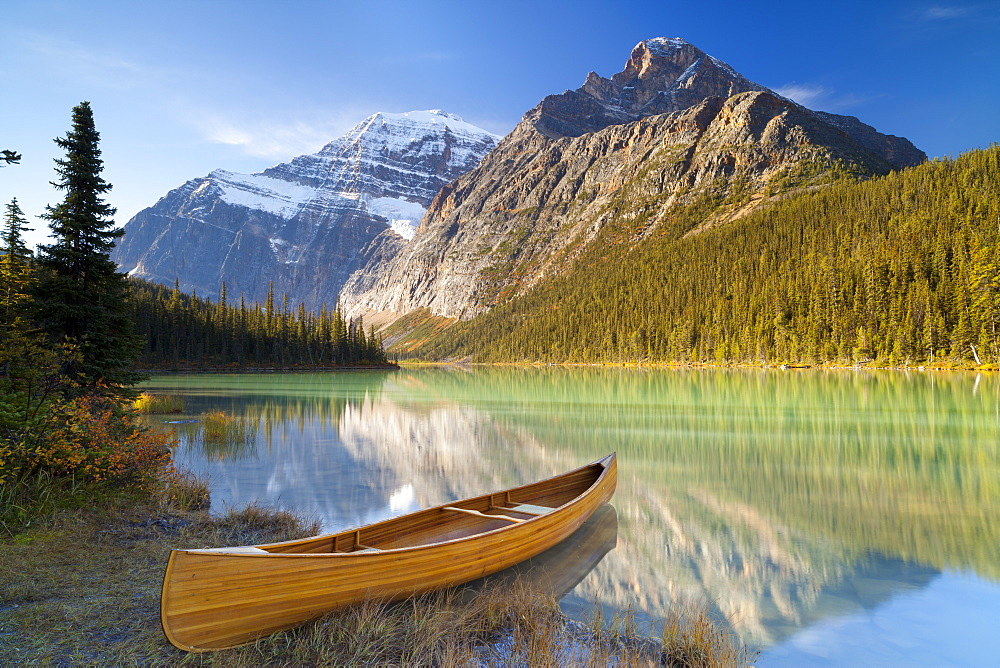 Canoe at Cavell Lake with Mount Edith Cavell in the Background, Jasper National Park, UNESCO World Heritage Site, Alberta, Rocky Mountains, Canada, North America - 1132-413