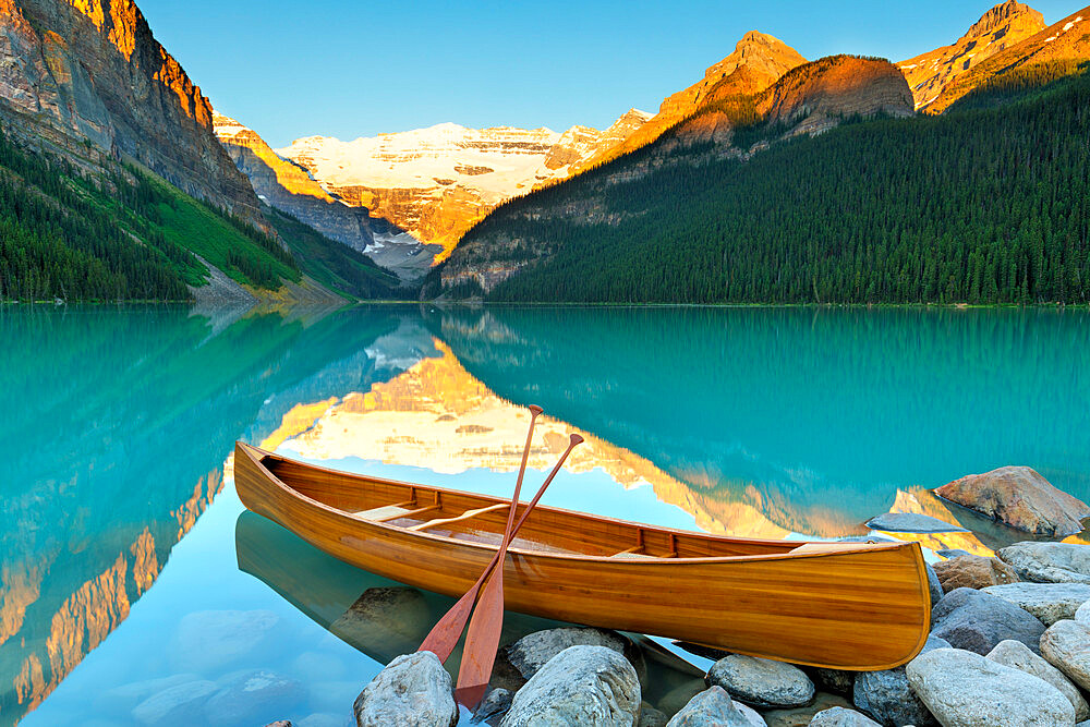 Cedar-Strip Canoe at Lake Louise, Banff National Park, Alberta, Canada - 1132-416