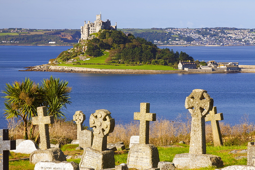 Cemetery with St. Michael's Mount in the background, Cornwall, England, United Kingdom, Europe