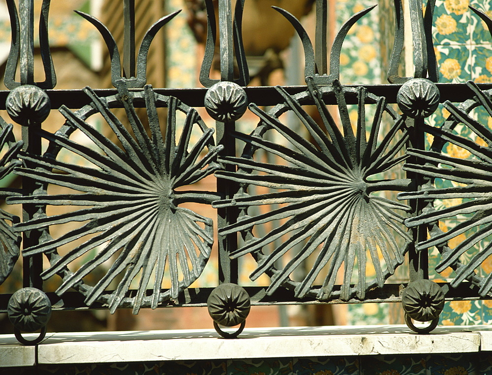Ironwork by Gaudi, Casa Vicens, Barcelona, Catalonia, Spain, Europe - 114-3151