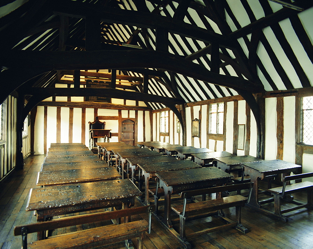 Interior of schoolroom where William Shakespeare was educated, Stratford-upon-Avon, Warwickshire, England, UK, Europe