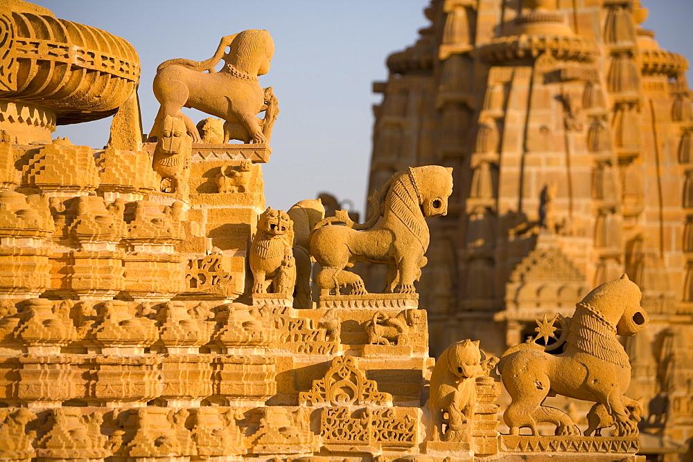 Jain Temple roof detail, Jaisalmer, Western Rajasthan, India, Asia