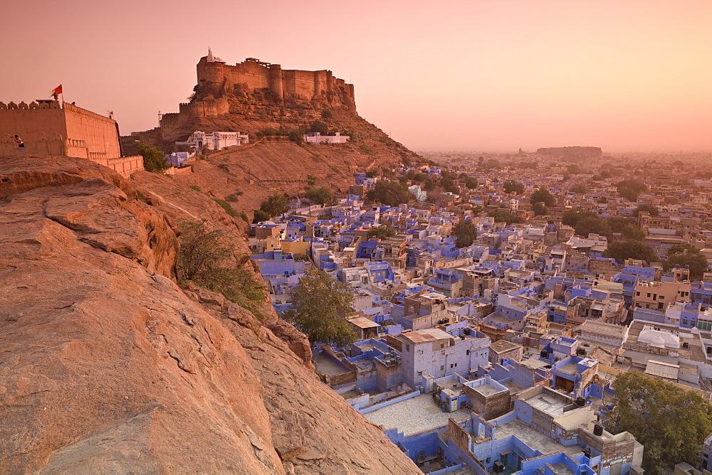 Elevated view towards Meherangarh Fort with Blue City below, Jodhpur, Western Rajasthan, India, Asia